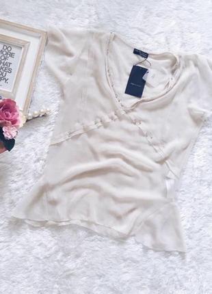 Бежевая шифоновая полупрозрачная блуза/блузка зара