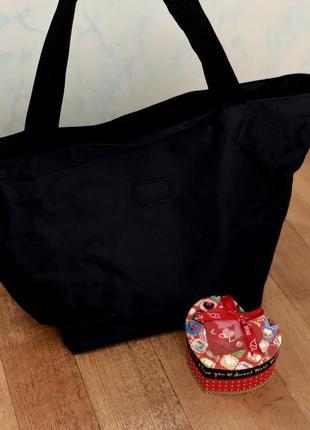Стильная черная сумка шопер италия