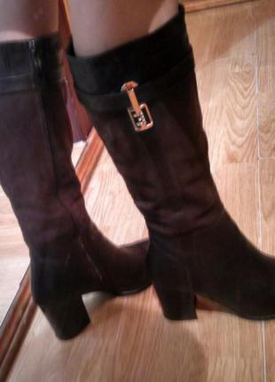 Шкіряні зимові чоботи на каблуку lider, сапоги, натуральная кожа, замша