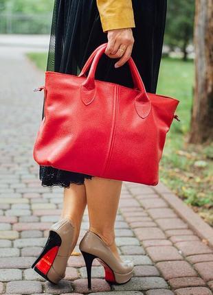 Кожаная стильная красная женская сумка, разные цвета