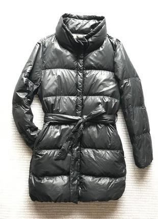 Пуховик куртка стеганая натуральный под пояс оверсайз легкий демисезон купить цена