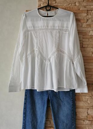 Хлопковая блуза, блузка-вышиванка, с кружевом