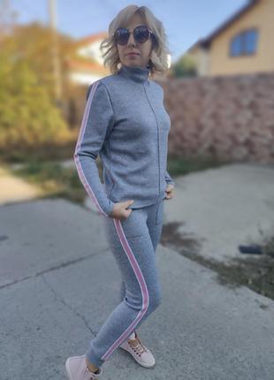 Прогулочный костюмчик из двухсторонней ангоры с люрексом family look (2 модели)7 фото