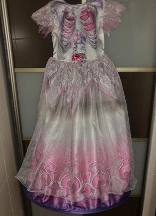 Карнавальное платье на хэллоуин скелет череп на 6-8 лет