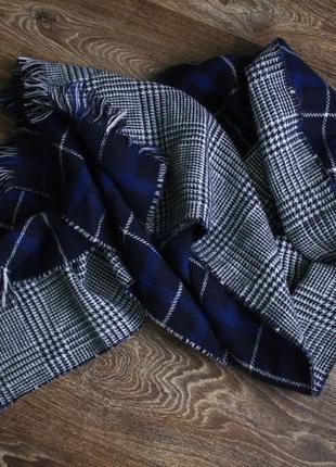 Огромный шикарный двухсторонний тёплый шарф - плед палантин в клетку h&m