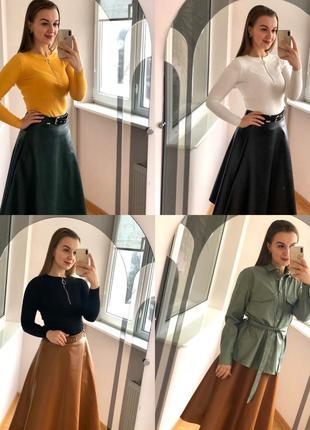 Кожаная юбка миди, юбка длинная эко кожа, зелёная юбка