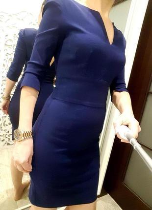 Платье шикарное xs-s синее приталенное классическое деловое по фигуре