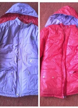 Двусторонняя куртка пуховик с отстегивающимся капюшоном