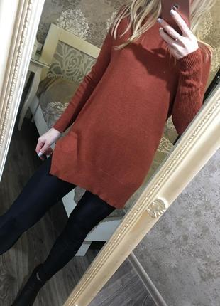 Удлегннный свитер кирпичного цвета