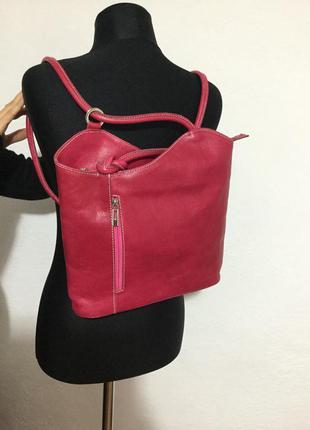 Городской итальянский рюкзак-сумка трансформер из натуральной кожи, 100% кожа