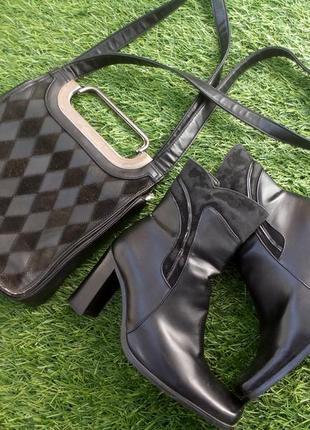 Сапоги (ботинки) демисезонные (весенние), с широким каблуком, кожзам