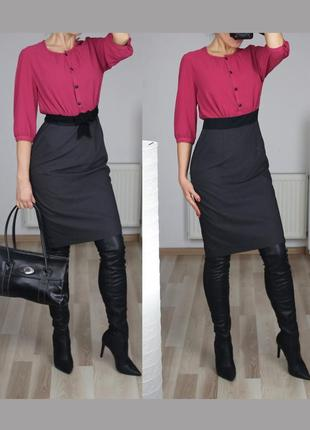 Красивое деловое платье в рубчик высокая посадка юбка и блузка