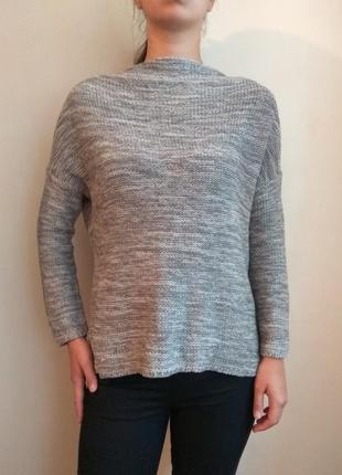 Серый, меланжевый свитер оверсайз с горлом стойкой от atm