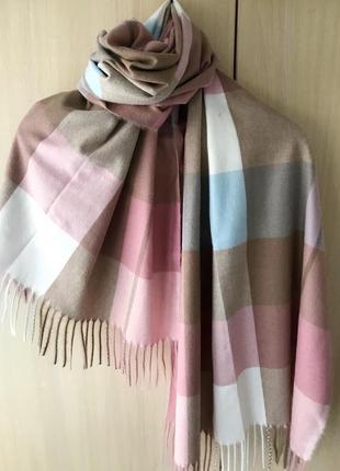 Кашемировый шарф в клетку ladies cashmere / шоколад, роза