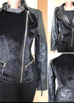 Кожаная курточка  / косуха с меховими вставками под норку / люкс качество