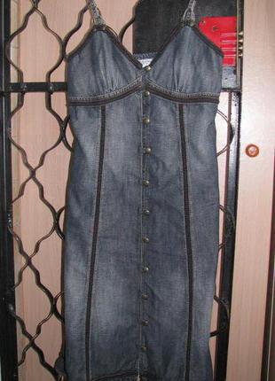 Очень красивое джинсовое платье сарафан esprit оригинал s-m