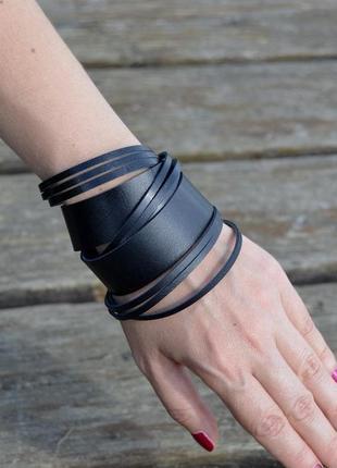 Широкий  кожаный браслет в 2 оборота . объемный  браслет (все размеры)
