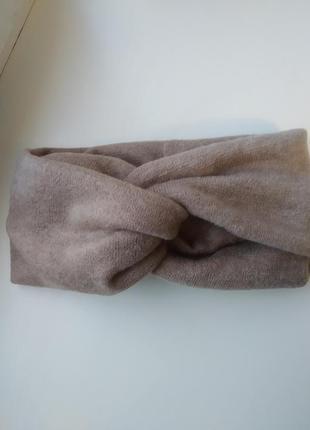 Теплая вязаная ангоровая повязка чалма тюрбан  пов'язка на голову