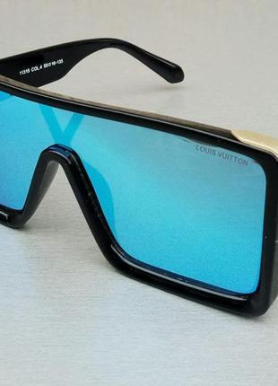 Louis vuitton очки маска женские солнцезащитные линзы голубые зеркальные