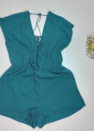 Комбінезон бірюза з шортими  та відкритою спиною  gina tricot розмір 38 (е186)