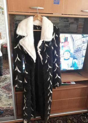 Норковая шуба alaska furs. идеальная.длинная.