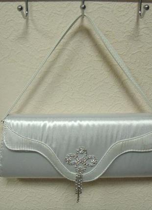 Сумка белая женская клатч свадебный для невесты к-616