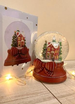 Большой снежный стеклянный шар{музыкальный}из англии