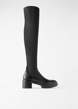 Zara  сапоги-ботфорты с эластичным голенищем