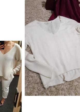 Стильный белый свободный свитер, h&m, p. 12-16