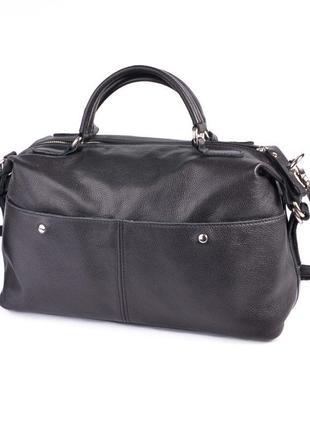 Кожаная черная сумка саквояж с ручками и ремешком через плечо