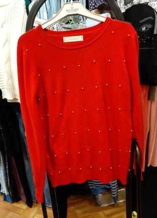 Кашемировый свитер с бусинами