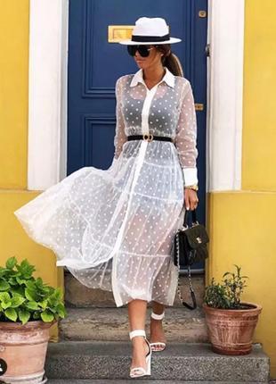 Сетчатое прозрачное платье