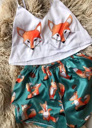 Женская шелковая пижама (шорты+ топ) с лисичкой, шелк / шовкова піжама жіноча