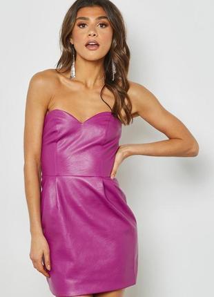 Акция! 1+1=3 новое платье без бретелек из искусственной кожи topshop