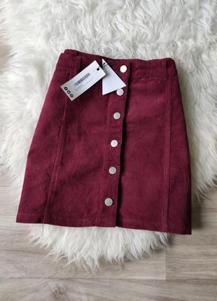 Бесплатная доставка! новая вельветовая юбка-трапеция с пуговичками boohoo
