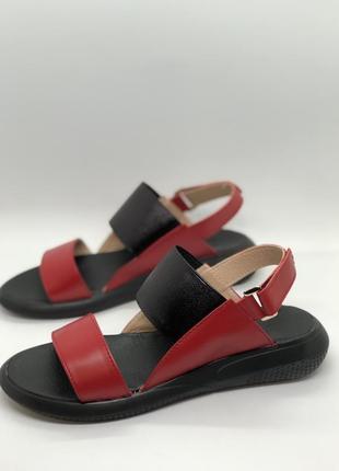Красные босоножки из натуральной кожи, сандалии промо цена, успей купить!