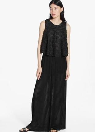 S\m черная кружевная блуза mango кофта цветы оверсайз