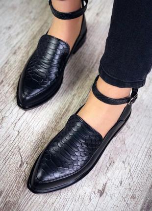 Рр 36-40 натуральная кожа стильные черные туфли в принт со скошенным передом