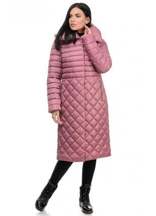 Стильное стеганое зимнее женское пальто
