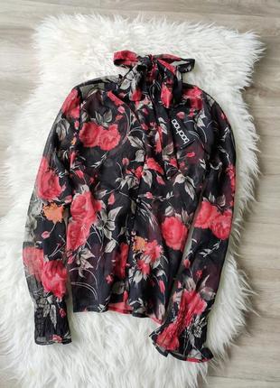 Новая цветочная шифоновая блузка boohoo