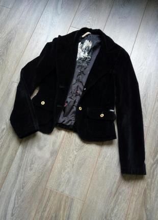 Черный бархатный велюровый пиджак жакет блайзер guess