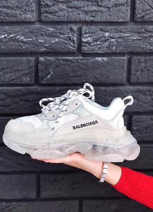 Шикарные женские кроссовки balenciaga triple s clear sole white /весна/лето/осень😍