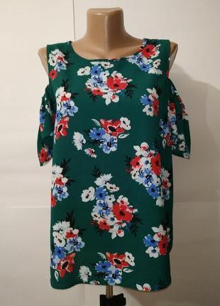 Блуза зеленая красивая в цветы с открытыми плечами new look uk 16/44/xl