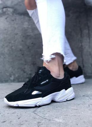 Adidas falcon black white шикарные женские кроссовки адидас фалкон чёрные