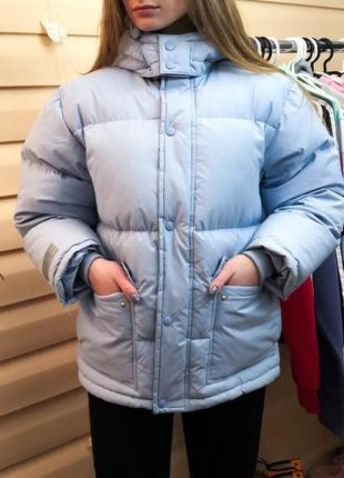 Пуховик куртка очень крутой оверсайз фасон голубая дутик