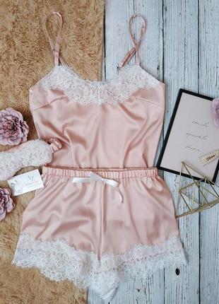 Шелковая пижама шелковый комплект для сна шорты и майка