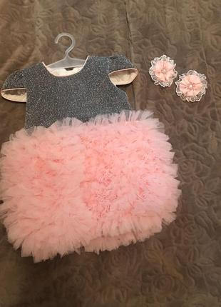 Шикарное платье, пышная юбочка, на девочку 1-2 года