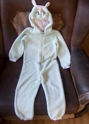 Пижама кигуруми комбинезон флисовый единорог  lupilu на 4-6 лет