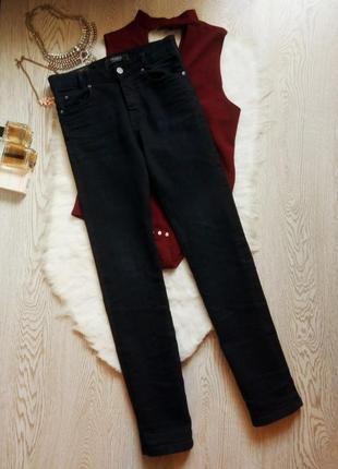Темные синие почти черные плотные джинсы скинни узкачи очень высокая талия посадка