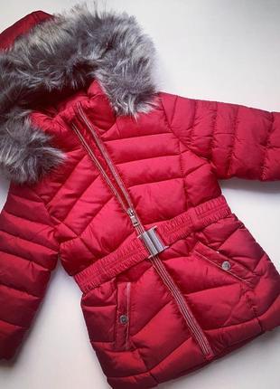 Куртка длинная тёплая на девочку пальто красное с капюшоном с мехом